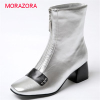 Plus Size 34 43 Women Boots Fashion Ankle Boots Pu Soft Leather Square Toe Square Heel