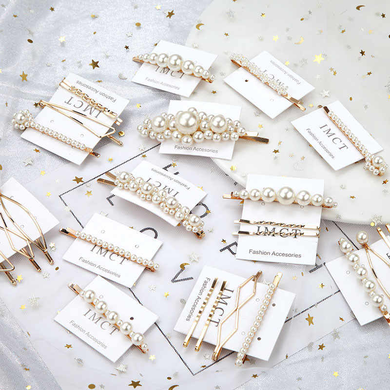 1 SET Elegant Pearl Hair Pins Metal Geometric Gold Color Korea Imitiation Hair Clip For Bridal Hair Accessories  2019 New