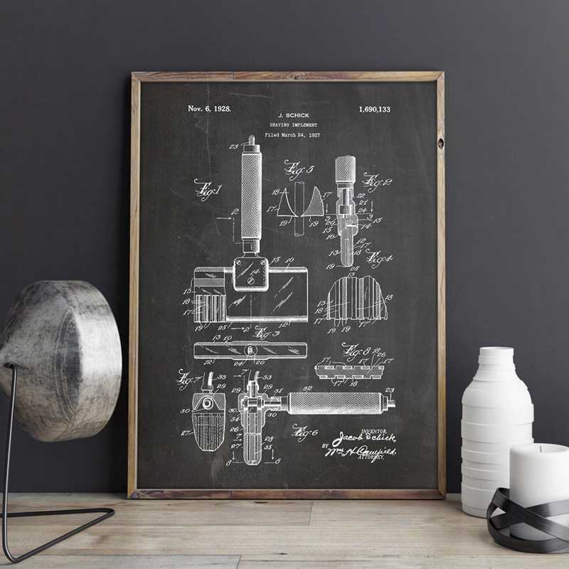 Straight Razor Patent Barber Gift Bathroom Wall Art Picture Prints Poster Home Decor Vintage Blueprint Canvas Painting Drawing