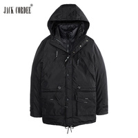 JACK CORDEE New Arrival Winter Jacket Men Two Pieces Coats Hooded Solid Pocket Zipper Thicken Windproof