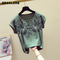 2019 Summer Retroembroidered Tshirt Women New Korean Round Collar Curly Cuff Short sleeved T shirt Casual Shirts Lady Tops Femme