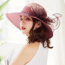 HT1627 Elegant Fashion Women Church Hat Summer Big Flower Straw Wide Brim Wedding Derby Beach Sun High Quality