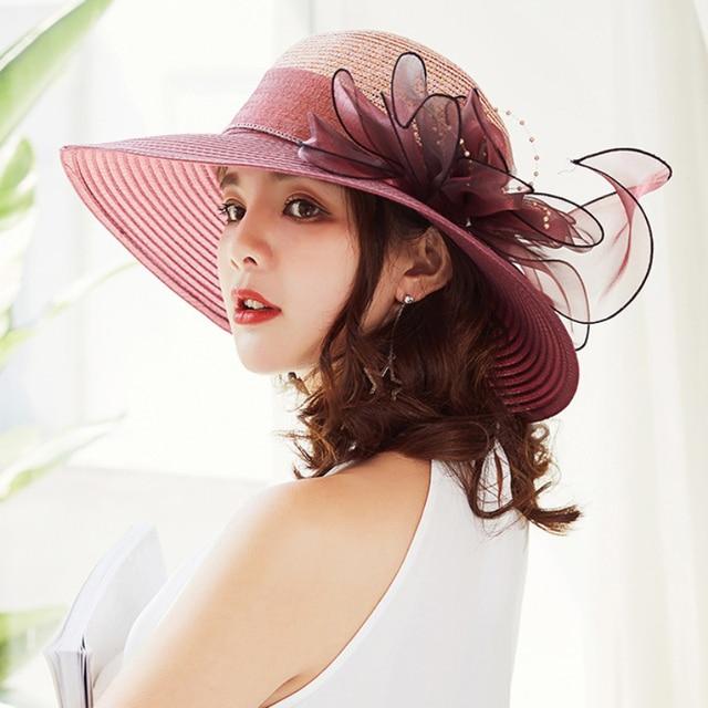HT1627 Elegant Fashion Women Church Hat Summer Big Flower Straw Wide Brim  Hat Wedding Derby Beach Sun Hat High Quality Women Hat 165236ab355
