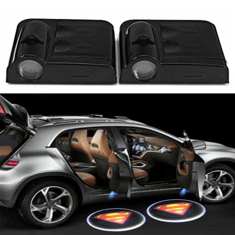 2 x Luzes do projetor da porta do carro sem fio Led Auto cortesia de boas-vindas Logo Shadow Lamp Laser Projection Magnet Magnet Superman logo