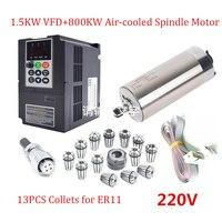ER11 220 В фрезерные мотор шпинделя комплект 1.5KW 24000 об./мин. 0.6Nm с водяным охлаждением шпинделя + 1.5KW VFD инвертор + 13 шт. собирает + 2 м кабели
