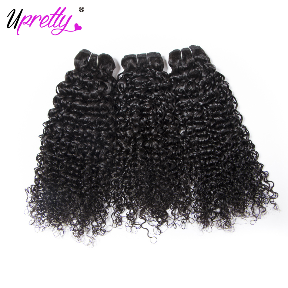 Upretty волос монгольский вьющихся волос 3 Комплект натуральный черный Цвет 100% переплетения человеческих волос Комплект s двойной утка может б...