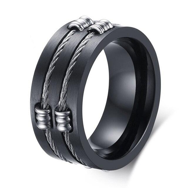 New Arrivals Fashion Black Men's Ring Jewelry The Punk Rock Accessories Titanium Steel Wedding Band Alliance