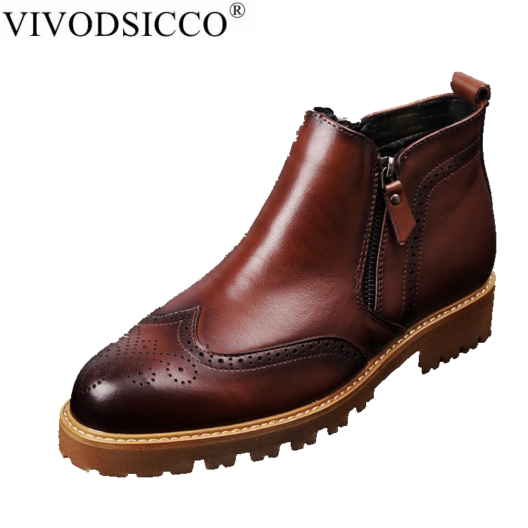 VIVODSICCO Men Casual British Style Fashion Ankle Boots Men Retro Bullock Carving Flower Martin Boots Pointed Toe Chelsea boots british style men chelsea boots genuine leather breathable bullock martin boots pointed toe slip on ankle boots 033