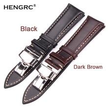 18-24mm Women Men Vintage Smooth Watch Band Strap Dark Brown Genuine Leather Bracelet Metal Butterfly Deployment Clasp Buckle