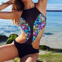 HELLO BEACH Trikini One Piece Swimsuit Women Mesh Bathing Clothes High Neck Swimwear Female Bathing Suit