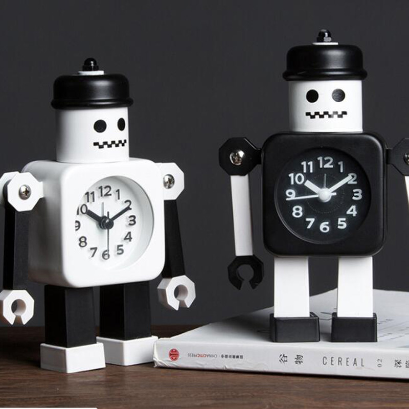 M.Sparkling 2018 New Creative Children Cartoon Robot Alarm Clocks for Student Personal Mute Metal Making Table Alarm Clocks