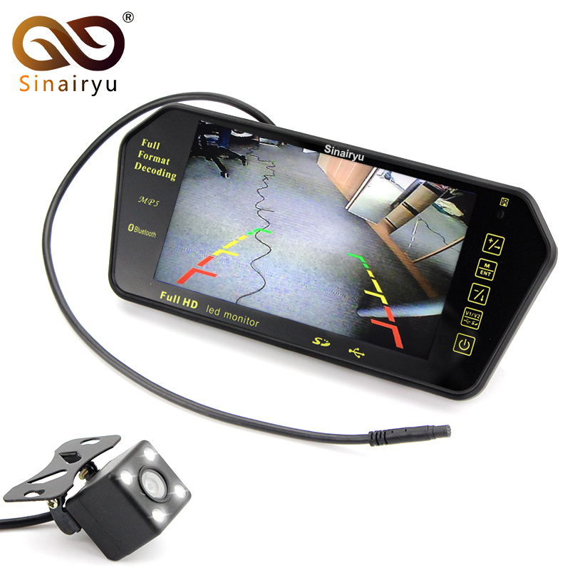 Sinairyu Car Parking Assistance System 7 MP5 Rearview Mirror Monitor Support SD/USB FM Radio with Night Vision Rear View Camera sinairyu 2in1 7 inch car video parking monitor mp4 mp5 car mirror monitor sd usb with rear view camera hands free