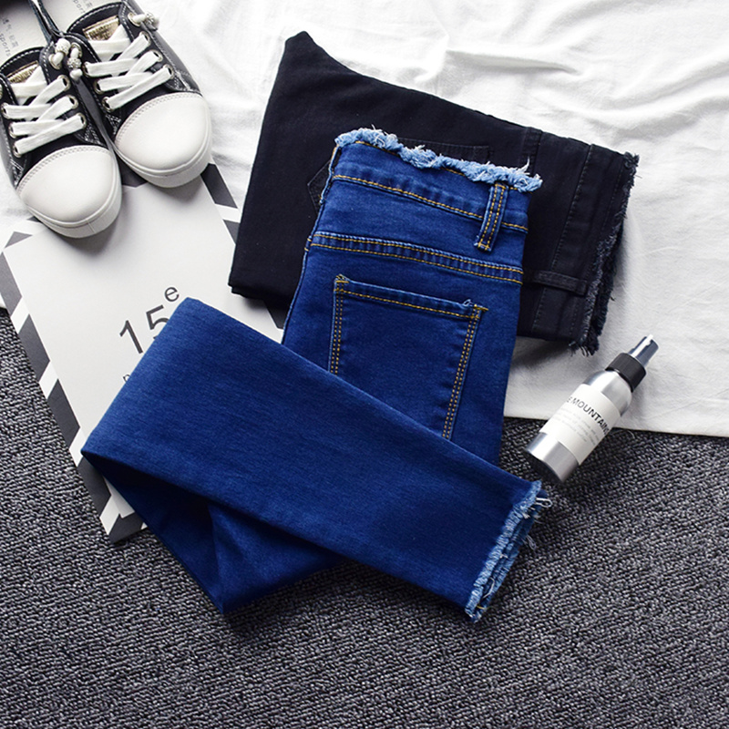 2019 Spring Skinny Pencil Jeans For Women Summer New High Waist Pencil Strech Denim Ankle Length Pants Tassel Jeans