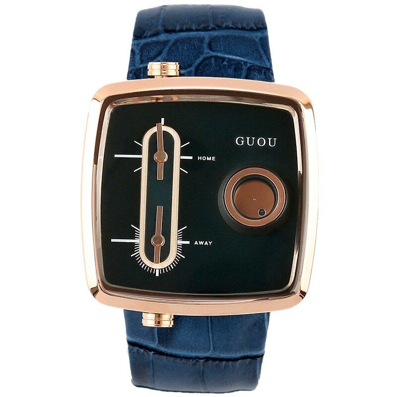 Fashion GUOU Brand Woman Square Dial Analog Wristwatch Waterproof Quartz Lady Watch Calendar Personality Sports Wrist Watche