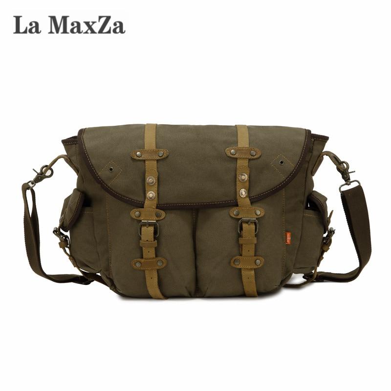 La Maxza Fashion Casual Messenger Bag Large Capacity Commuter Canvas Bag Cross Border Supply
