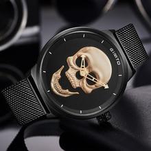 2018 Hot Mens Watch GIMTO Luxury Brand Creative Clock Steel Black Male Skull Style Quartz Watches Men Relogio Masculino