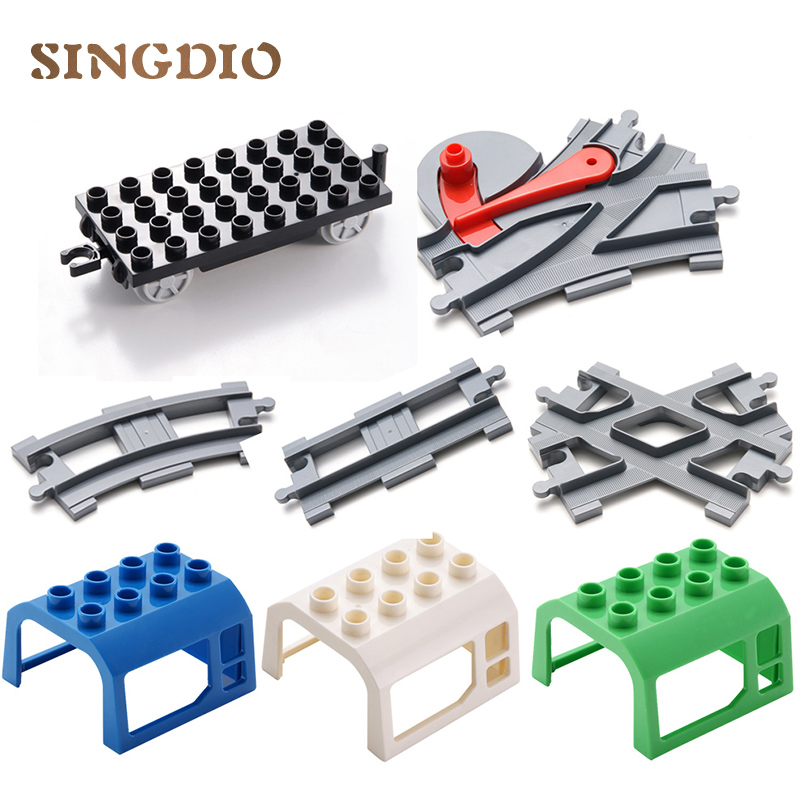 SINGDIO Train Track Big Building Blocks Carriage Cross/Straight/Curved/Furcal Rail kids Educational Toys Compatible with Duplo singdio train track big building blocks carriage cross straight curved furcal rail kids educational toys compatible with duplo