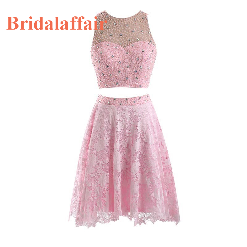 Bridalaffair Real Photo Two Piece Pink Crystal   Prom     Dresses   2018 Robe de soiree Custom made Scoop Neck Short Formal Party Gowns