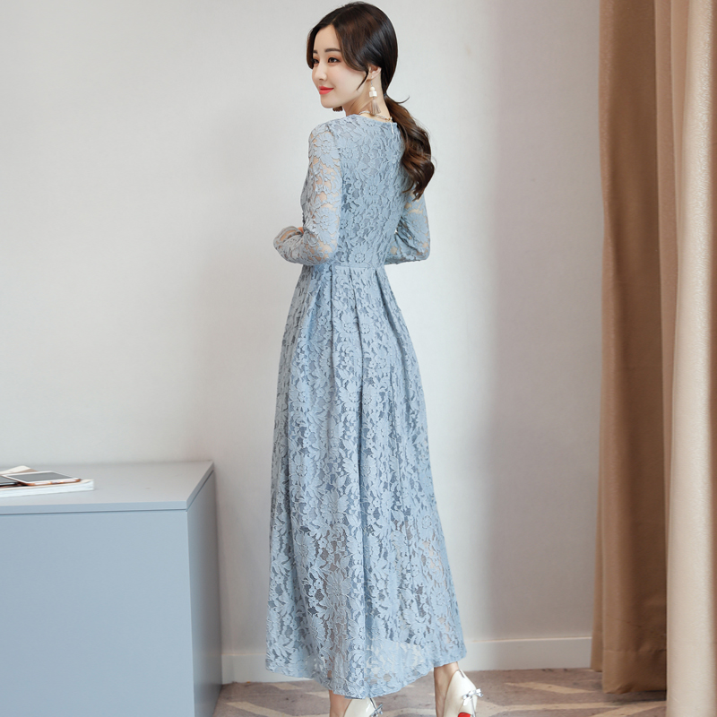 a9ca6b9632a 2019 Autumn Lace maxi Dress women Fashion V neck Long Sleeve Elegant party  Dress Korean style plus size Dress vestidos mujer-in Dresses from Women s  ...