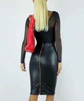 Autumn Fashion Saias Lapis Women Plus Big Size XXS 6XL 8XL 10XL Black Faux Leather Pencil