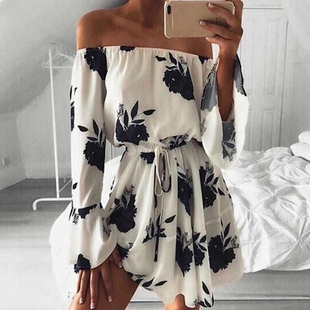 2fba8fd4230f Beach Dress Off Shoulder Mini Floral Printing Long Sleeve Flare Spring  Dress Summer Beach Dresses Vestidos