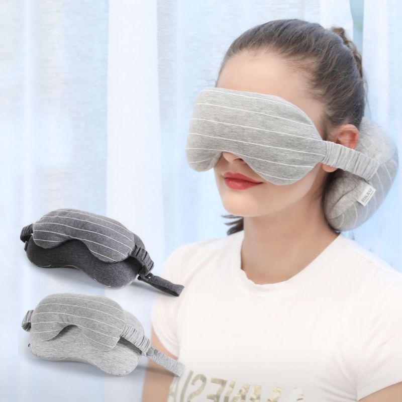 2-in-1 Sleeping Pillow Travel Neck Pillow U-Shaped Pillow Portable Soft Neck Support Perfect Pillow with Eye Mask