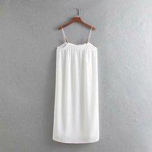 Sling Dress Slash Neck Summer Women Sleeveless White Wrinkles Dress Women Elegant Casual Knee-Length Dress Straight Sundress
