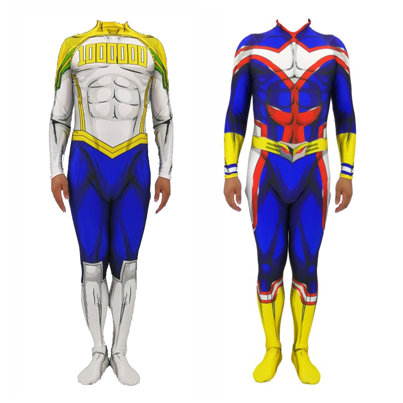 My Hero Academia Costume All Might Toshinori Yagi Million <font><b>Mirio</b></font> <font><b>Cosplay</b></font> Jumpsuit My Boku No Hero Academia Zentai Suit Adult Kids image