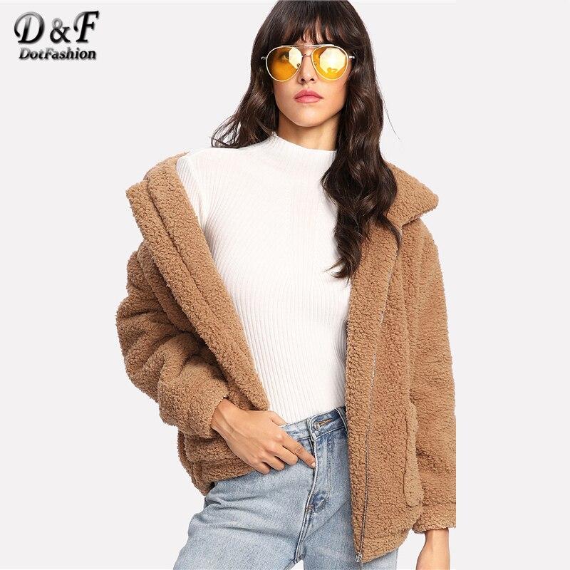Dotfashion Dual Pocket Faux Fur Khaki Jacket Female Fall Winter New Style Zipper Collar Long Sleeve Preppy Acrylic Coat