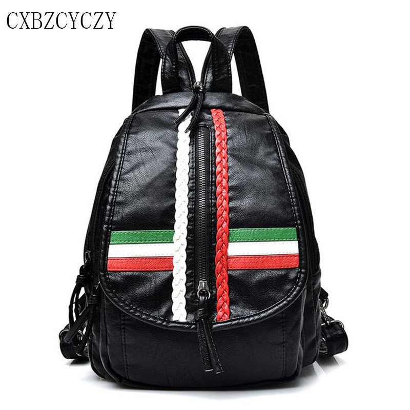 Simple Style Backpack Women High Quality PU Leather Female Backpacks For Teenage Girls School Bags Fashion