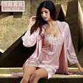 2016 New Real Pijamas Fashion Iron Nightgowns Women Silk Robe Sets Twinset Sleepwear Female Nightdressing Plus Big Size