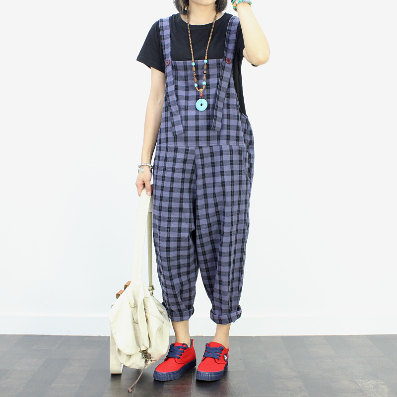Womens Jumpsuit Clothe Casual Plaid Overalls For Women Adjustable Cotton Pockets Elastic Band Shorts Pants Girls Rompers #3 Reasonable Price Rompers