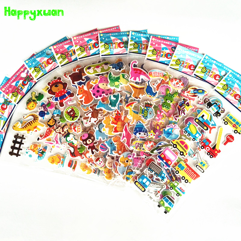 Happyxuan 12 Sheets Cute 3D Cartoon Animal PVC Bubble Puffy Stickers Kids Girl Boy Dinosaurs Classic Toys School Teacher Reward 6 sheets lot 3d puffy bubble stickers mixed cartoon kawaii stickers toys dress up girl changing clothes kids toys for children