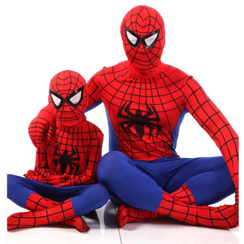 Красные, черные костюмы для Хэллоуина, костюмы для детей, костюм Человека-паука Супермен, супергерой, одинаковые Семейные Комбинезоны для взрослых