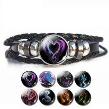 Men Punk Dragon Bracelet Heart Double Dragon Photo Glass Cabochon Snap Wristband Men Leather Bracelet Handmade Gifts for Him