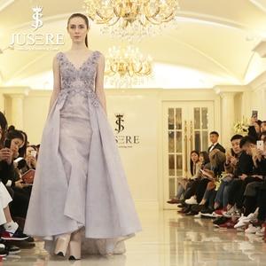 Image 1 - Jusere Encaje Vintage de lavanda con cuentas Sexy una línea vestido de fiesta hecho A mano de encaje rebordear púrpura vestido de noche Hajab 2019