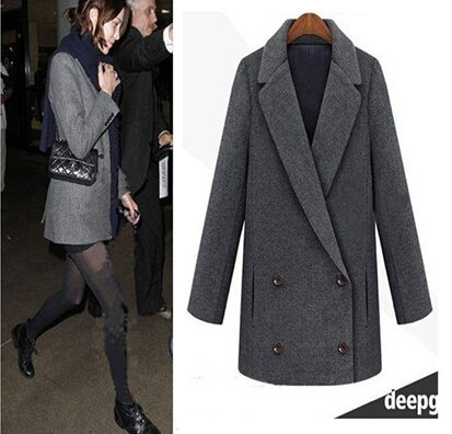 8c9d2d128c5 UK 2019 Fall / Winter Women Notched lapel Mid-length Simple Woolen Coat  Jacket Black Dark Grey Overcoat Casacos Manteau femme