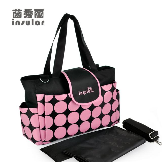 Recién llegado de puntos redondos del pañal bolsas marca bolsas impermeables Nappy mamá de moda para cochecito