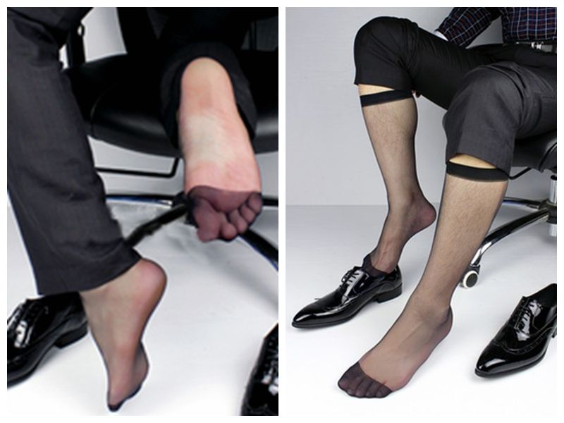 fashion Mens Business socks Gay Ultra Sheer Dress Socks Long Visual Male suit Socks Formal Style male Nylon Tall Stockings