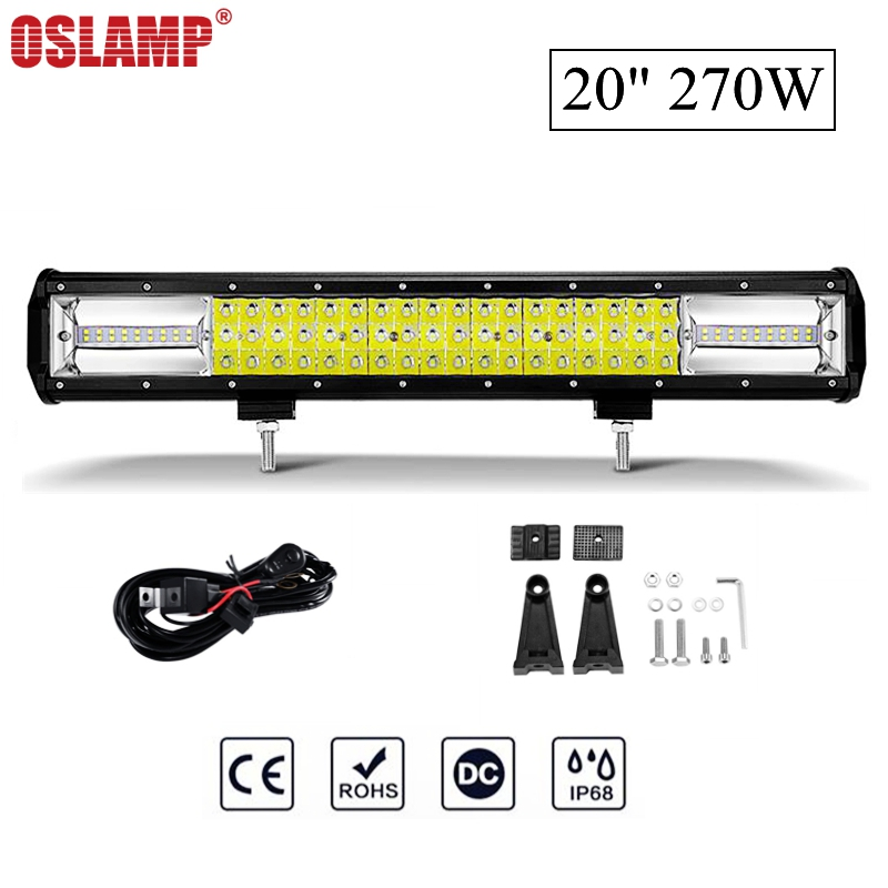 Oslamp 20 270W 6000K Combo Beam LED Work Light Bar Offroad Driving Lamp for Jeep Truck SUV ATV 4x4 4WD 12v 24v oslamp 5d 32 led light bar 300w cree chips offroad led work light bar combo beam 12v 24v truck suv atv 4x4 4wd led driving lamp