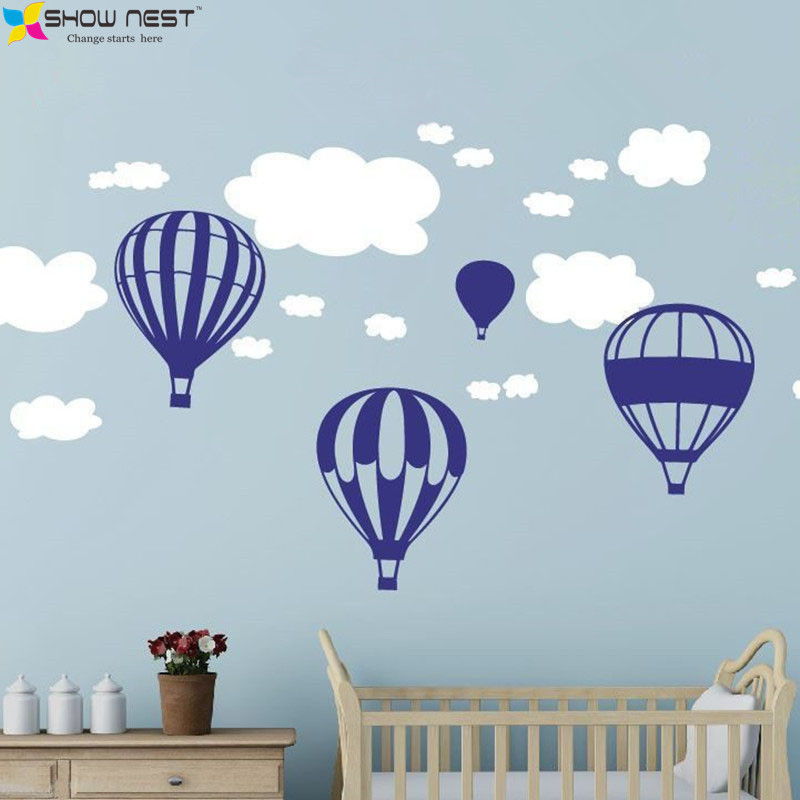 5x huge hot air balloons and clouds wall stickers home for Baby mural stickers