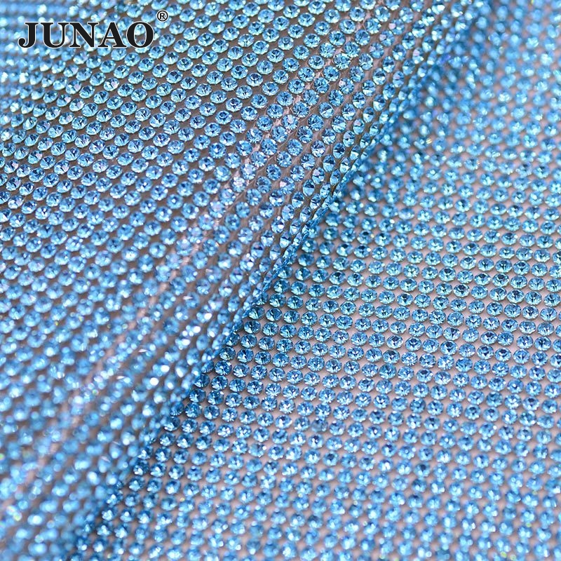 JUNAO ss8 Aquamarine Color Crystal Rhinestone Mesh Trim Strass Crystal Banding Bridal Applique for Wedding Dress Home Decorative