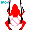 IKOKY SM Bondage Adjustable Sex Toys for Couple Sex Chair Adult Game Sex Furniture Erotic Toys Fetish Nylon Door Sex Swing