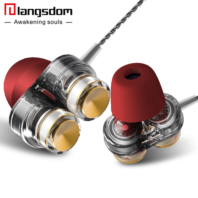New Langsdom D1 In-ear Earphones with Microphone Dual Driver Phone Earphone Headset for Phone Headsets fone de ouvido mp3 xiaomi