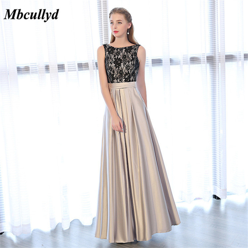 Newest Long A-line   Bridesmaid     Dresses   2019 Ruffles Appliques Waist Scoop Neck Luxury Black Satin Maid Of Honor   Dress   Party Gowns