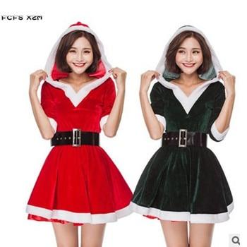 2 colores mujer Navidad bola Santa Claus disfraces mujer Halloween fiesta Cosplay invierno pijamas carnaval Purim Vestido de juego de rol