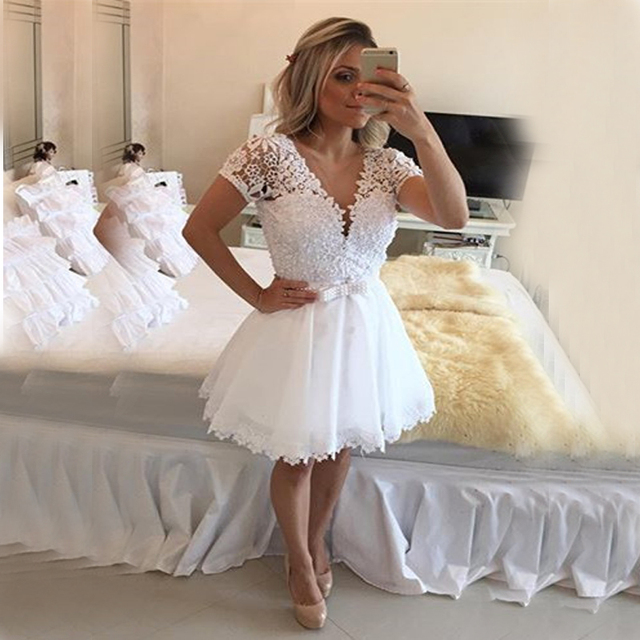 Actual Image Short Ivory Wedding Dresses 2017 A Line Chiffon Lace Lique Sleeve Y Backless
