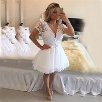 Hình Ảnh thực tế Ngắn Ngà Wedding Dresses 2017 A Line Voan Ren Đính Ngắn Tay Áo Sexy Backless Cộng Với Kích Thước Bridal Gowns
