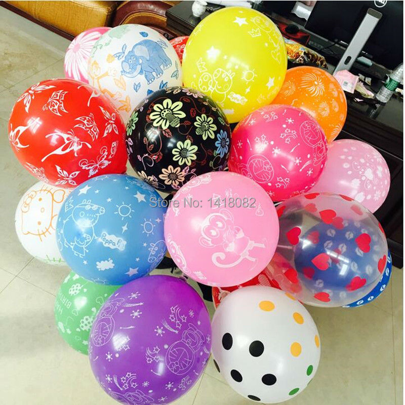 100pcs Big Latex Romantic Round balloons Decahedron printed Wedding Happy Birthd