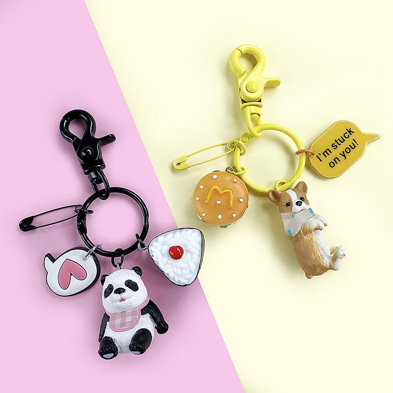 New 2019 Dog Keychain Metal PET Key Chain Bag Charm Animal Couple Keychain Lovely Keychain Car Keyring Gift Women Key Ring in Key Chains from Jewelry Accessories